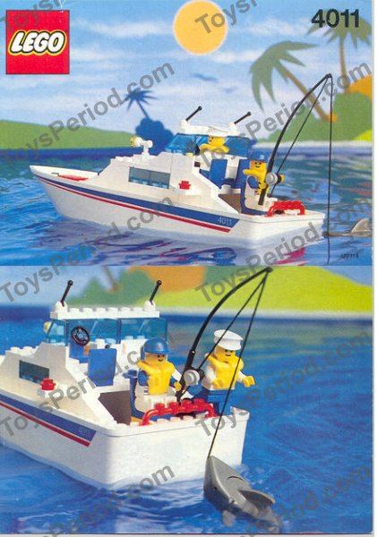 Lego 4011 cabin cruiser set parts inventory and for Fishing lego set