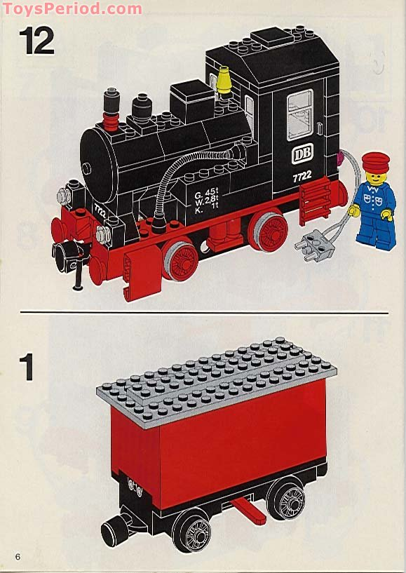 lego 7722 steam cargo train battery set parts inventory