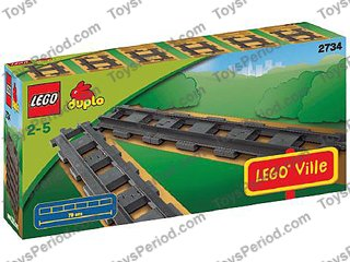 Gray Lego Duplo Eisenbahn Train Set 2734-2 Straight Rails 6x Dark Bluish new