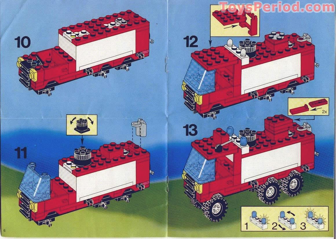 Lego 6480 light and sound hook and ladder truck set parts for Lego classic house instructions