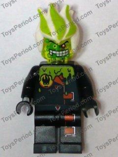 Dr D Zaster Agents Villain Head Gear 8969 LEGO Minifig Green WHITE SPIKED HAIR