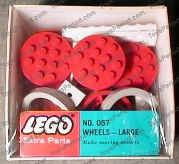Large LEGO 36 715 Red Wheel Old with 12 Studs Tire Smooth Old Style